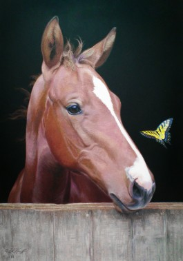 Horse with Butterfly Flags