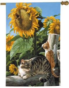 Sunflowers Cat Decorative Flags