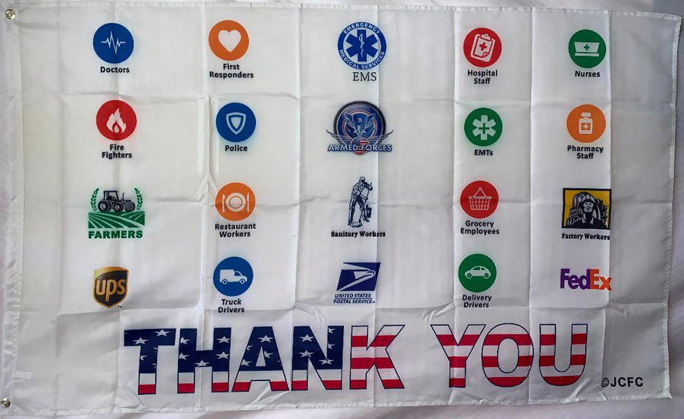 Thank you COVID 19 heroes flag